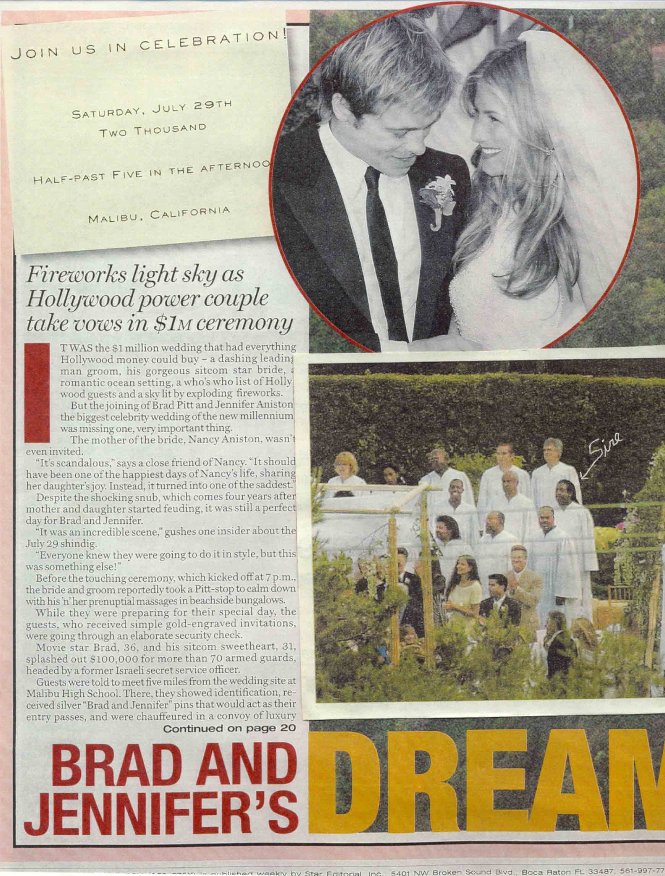 Brad & Jennifer Pitt's Wedding